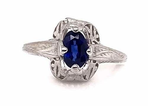 Vintage Sapphire Engagement Ring .60ct Oval Platinum Antique Art Deco