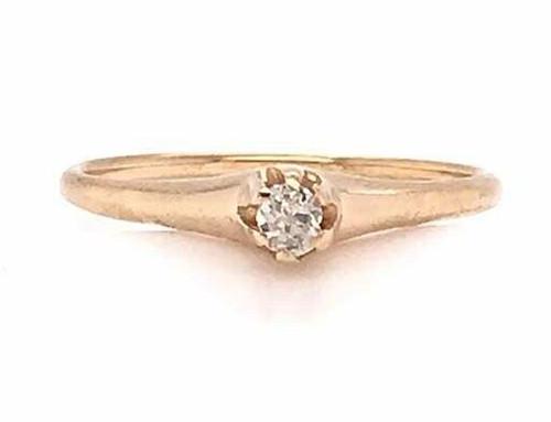 Antique Victorian Diamond Engagement Ring .10ct Old Mine Cushion Cut 14K Vintage