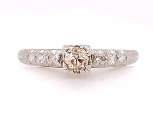 Antique Art Deco Fancy Chocolate Brown Diamond Engagement Ring .33ct Vintage 14K