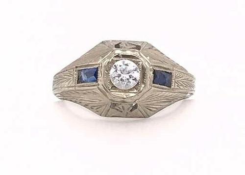 Vintage Mens Sapphire Semi Mount Engagement Ring .30ct Antique Deco 18K