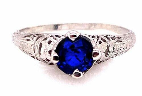 Genuine Antique Art Deco Vintage Sapphire Solitaire Engagement Ring .70ct Platinum Antique Deco Filigree
