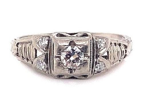 Antique Diamond Engagement Ring Old European .23ct Platinum Vintage Deco