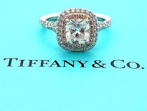 Tiffany and Co Engagement Ring Soleste Pink Diamonds 1.56cttw H/VVS1 Platinum