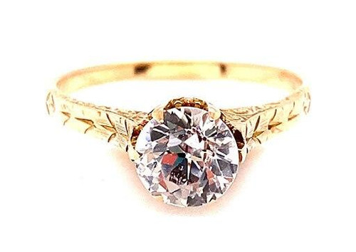 Edwardian Solitaire Engagement Ring White Sapphire 10K Yellow Gold