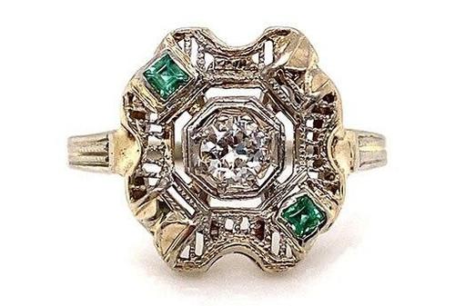 Vintage Diamond Princess Cut Emerald Cocktail Ring .20ct Antique Deco 14K