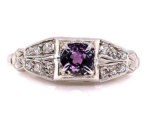 Deco Color Change Sapphire Diamond Cocktail Ring 18K Vintage 1931 Bluebird .65ct
