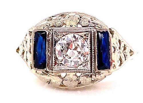 Art Deco Diamond and Sapphire Engagement Ring .73ct 18K Flower Basket