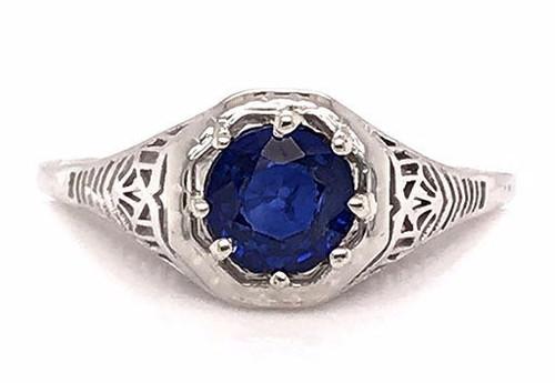 Vintage Sapphire Solitaire Engagement Ring 1ct Antique Deco Filigree 18K Milgrain