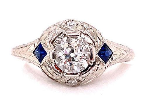 Near Mint Vintage Diamond Sapphire Engagement Ring .85ct Deco 18K French Cut