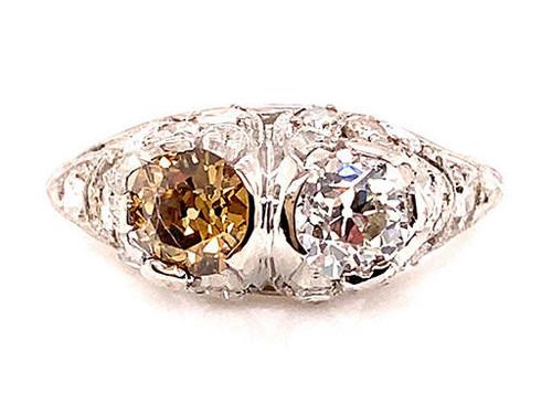 Vintage 2 Stone Red Brown Diamond Ring 1.51ct Old European Deco
