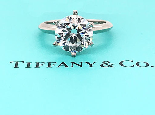 Tiffany and Co Solitaire Engagement Semi Mount Ring Setting Platinum Holds 3ct