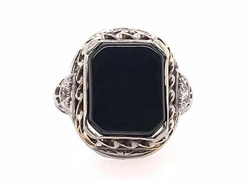 Vintage Onyx Diamond Cocktail Ring 18K White Gold Antique Deco Old Euro