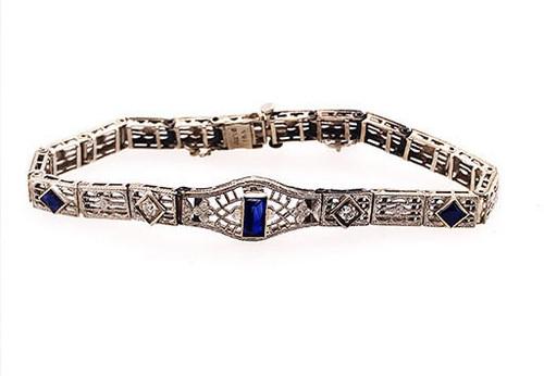 Vintage Deco French Cut Sapphire Diamond Bracelet 1.35ct Platinum Antique
