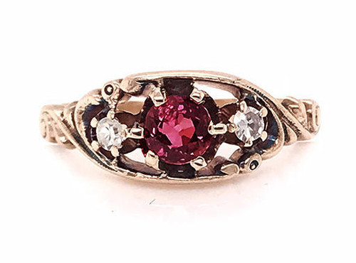 Victorian Ruby Diamond Cocktail Ring .66ct Antique Gold Ripley Howland