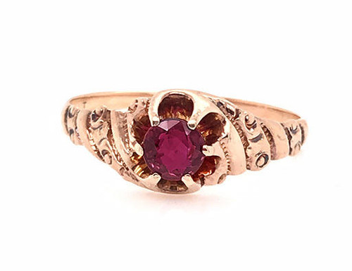 Vintage Ruby Solitaire Cocktail Ring .55ct Antique Victorian Yellow Gold