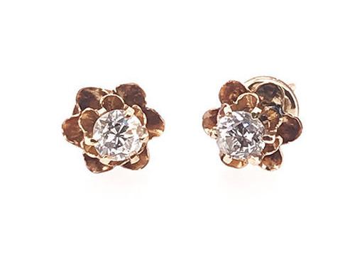 Vintage Diamond Screw Back Earrings .60ct 14K Antique Edwardian Old Mine Buttercup