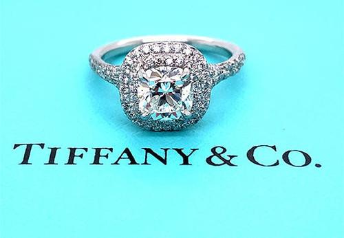 Tiffany and Co Soleste Engagement Ring 1.35ct E/VVS2 Cushion Halo Platinum
