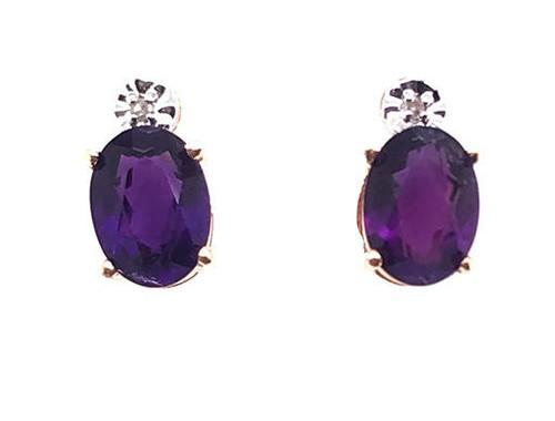 Brand New Amethyst Diamond Stud Earrings 2ct February Birthstone 14K Yellow Gold
