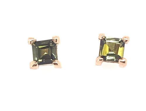 Brand New Green Square Tourmaline Stud Earrings .50ct 14K Yellow Gold