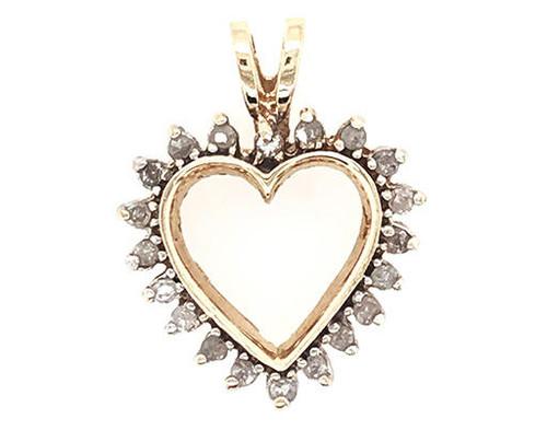 Diamond Heart Pendant Necklace .25ct Diamonds Yellow Gold Anniversary