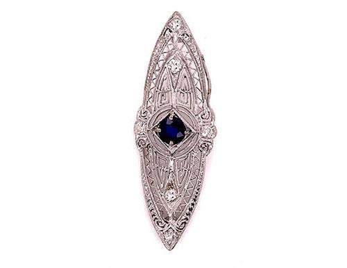 Vintage Sapphire Diamond Pendant Necklace .75ct Platinum Antique Art Deco