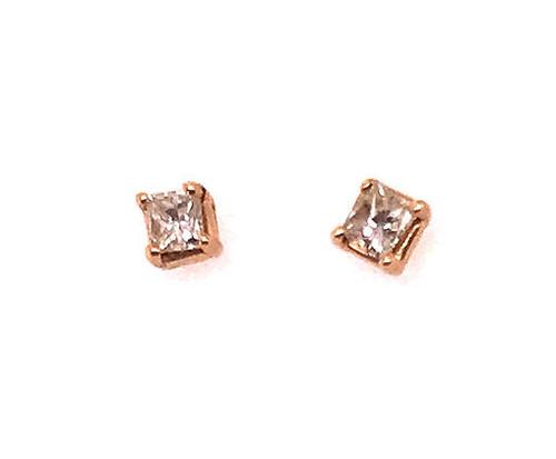 Brand New Diamond Princess Cut Stud Earrings .33 Carat G-H/VS 14K Yellow Gold