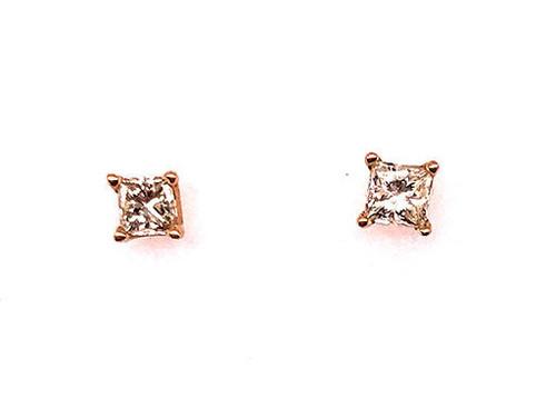 Diamond Princess Cut Stud Earrings .75 Carat I/VS 14K Yellow Gold