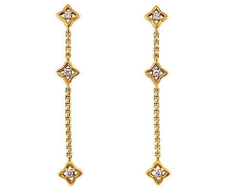 Diamond Dangle Drop .20ct Earrings 18K Gold Star High End Designer