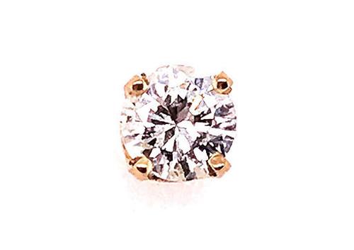 Diamond Single Stud Earring .40ct Round Brilliant G/VS 14K Yellow Gold