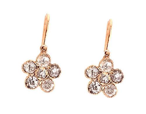 Antique Diamond Dangle Lever Back Earrings 1ct 14K Victorian Old Mine