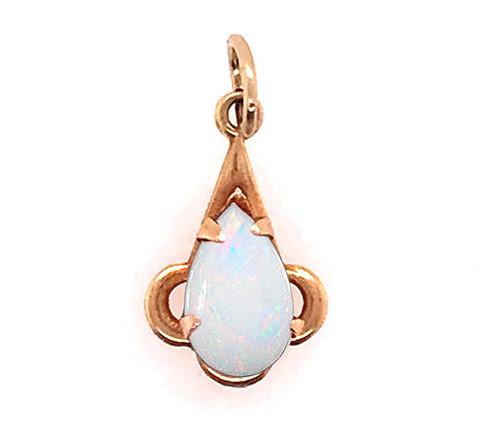 Fiery Opal Pendant Necklace 14K Yellow Gold Pear Teardrop
