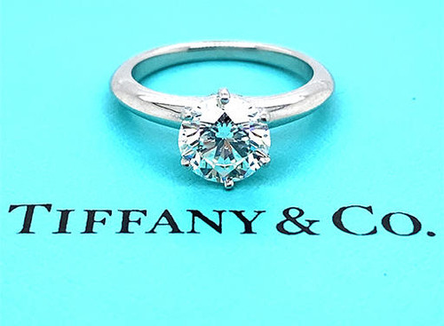Tiffany and Co Solitaire Engagement Semi Mount Ring Setting Platinum Holds 1.50ct