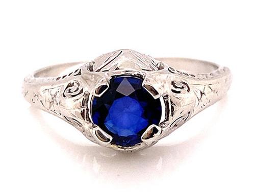 Art Deco Sapphire Solitaire Engagement Ring 1ct Platinum Filigree Antique