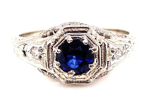 Vintage Sapphire Diamond Engagement Ring .66ct Antique 18K Art Deco Filigree