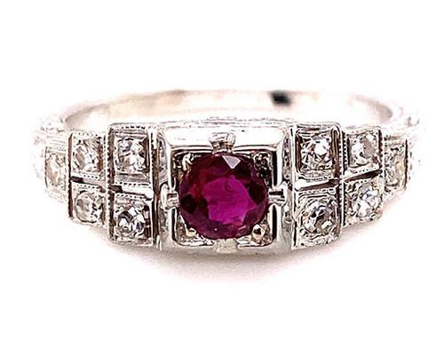 Vintage Antique Ruby Diamond Engagement Ring .55ct Art Deco 18K White Gold