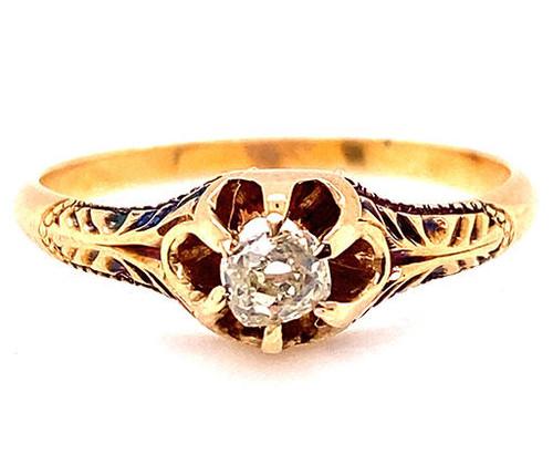 Vintage Diamond Engagement Ring .27ct Old Mine Cushion F/VVS Victorian 14K