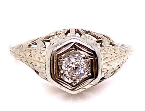 Vintage Diamond Engagement Ring .10ct Old European 18K Antique Deco