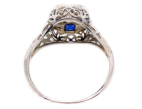 Vintage Diamond Sapphire Engagement Ring Old Euro .65ct Art Deco 18K French Cut