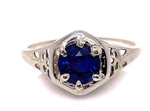 Vintage Sapphire Solitaire Engagement Ring .90ct Antique Deco 18K Flowers