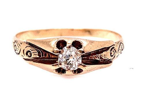 Vintage Diamond Engagement Ring .22ct Old Mine Cut F-G/VS Victorian 14K