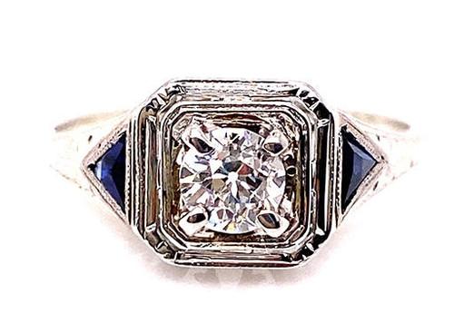 Vintage Diamond Sapphire Engagement Ring .60ct Antique Deco 18K D-F/VVS Old Euro