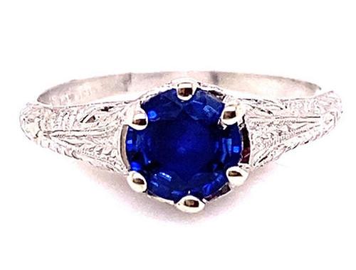 Vintage Sapphire Solitaire Engagement Ring .80ct Platinum Antique Deco Filigree