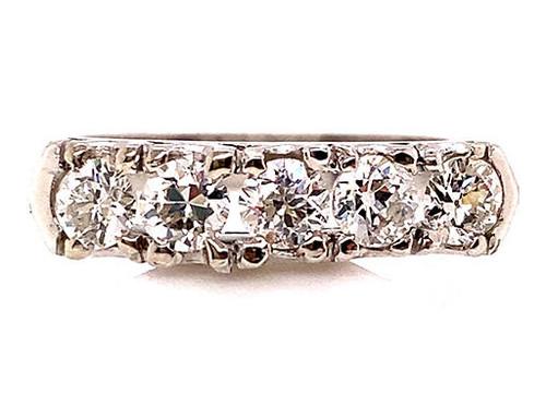 Vintage Diamond Wedding Ring Band 1ct Platinum Antique Deco D-F/VVS Old Euro