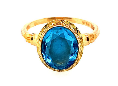 Blue Topaz Ring NOS Vintage Oval Cut 1950s Retro Antique 4ct Yellow Gold