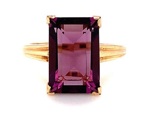 Amethyst Ring NOS Vintage 3.50ct Emerald Cut 1950s Retro Antique Yellow Gold