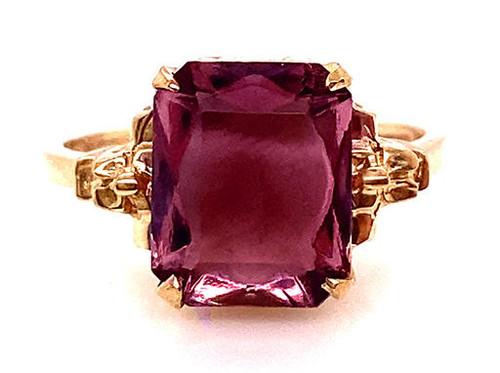 Amethyst Ring NOS Vintage 2.90ct Rectangular Cut 1950s Retro Antique Yellow Gold