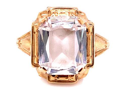 Retro White Quartz Ring 2.75ct Vintage Antique 1950s New Old Stock Yellow Gold