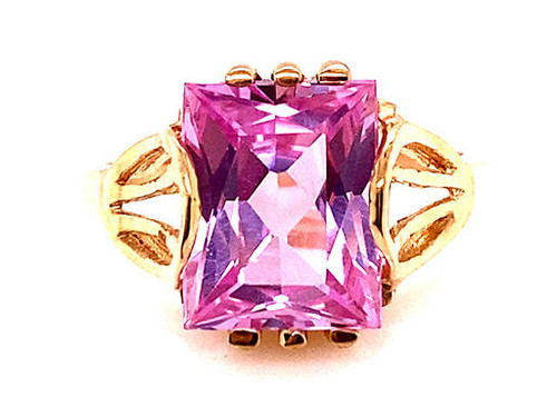 Vintage Pink Sapphire Ring 2.75ct Retro 1950s New Old Stock Yellow Gold