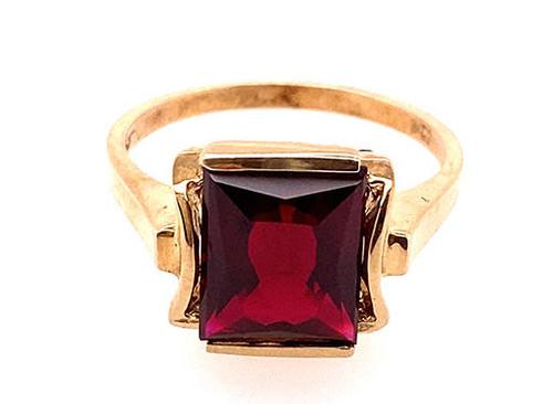 Vintage Garnet Ring 3.50ct Rectangular Cut Antique Retro 1950s NOS