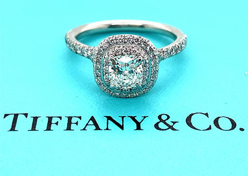 Tiffany and Co Soleste Engagement Ring Halo .97ct F VS1 Cushion Cut